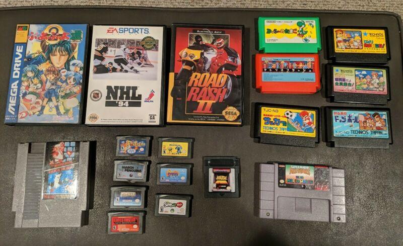 Retro Video Games Lot SNES Famicom Genesis GBA Super Mario NES Tested  Works