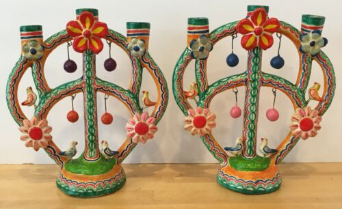 Pair of Vintage Mexican Pottery Folk Art Trees of Life Castillo Family