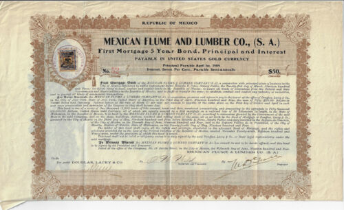MEXICO 1938 Mexico Flume & Lumber Company S A Bond Stock Certificate #52