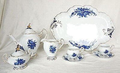 PMI Mokka-Service 2 Pers. Tassen Kanne Milch + Zucker-Set Tablett blaue Blumen