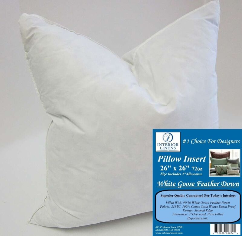 "26"" 72oz. Pillow Insert: White Goose Feather Down - 2"" Oversized & Firm Filled"
