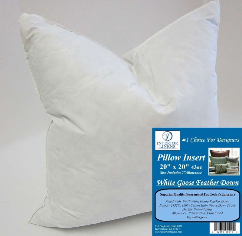 "20"" 43oz. Pillow Insert: White Goose Feather Down - 2"" Oversized & Firm Filled"