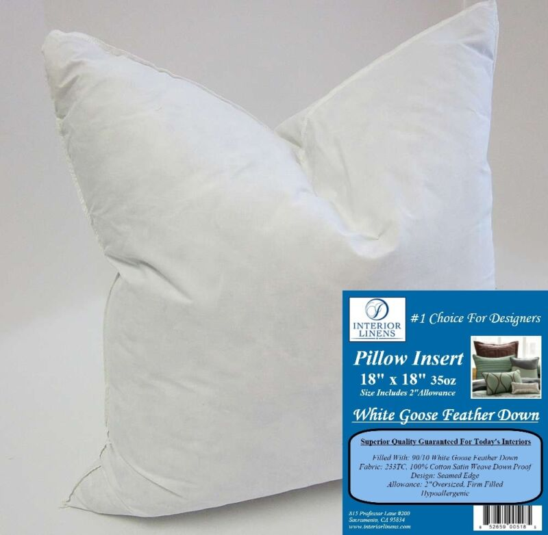 "18"" 35oz. Pillow Insert: White Goose Feather Down - 2"" Oversized & Firm Filled"