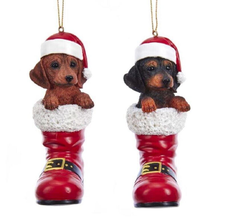 Dachshund Santa Boot Ornament Red
