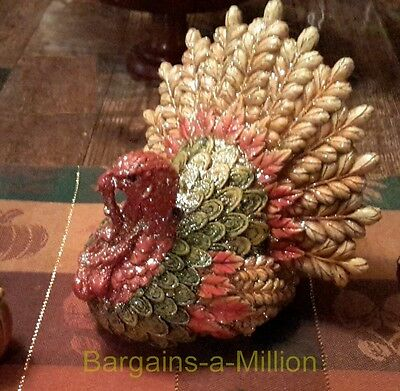 Glittered Thanksgiving Turkey Ceramic Figurine Autumn Fall Table Centerpiece