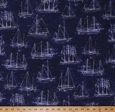 Tall Ships Sailboats Vintage Blueprints Digital Cotton Fabric Print BTY D770.62