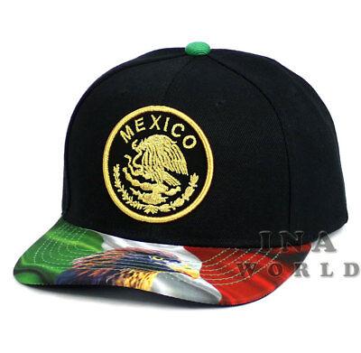 MEXICAN hat MEXICO Eagle Flag bill Gold Federal Logo Snapback Baseball cap-Black