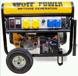 Wolf WP7500E 15HP 8.75KVA 7000W Electric Start Petrol Generator WITH WHEELS