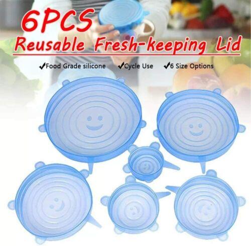 6Pcs Reusable Silicone Stretch Lids Cover Safe Storage Wraps Food Bowl Covers US
