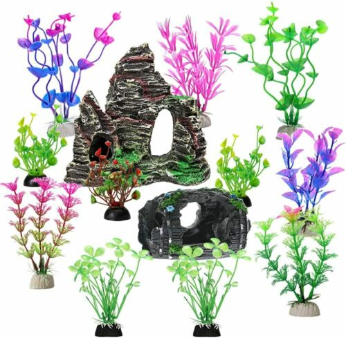 Fish Tank Accessories Aquarium Decorations Rock Plants 13 Packs Fish Tank Decor