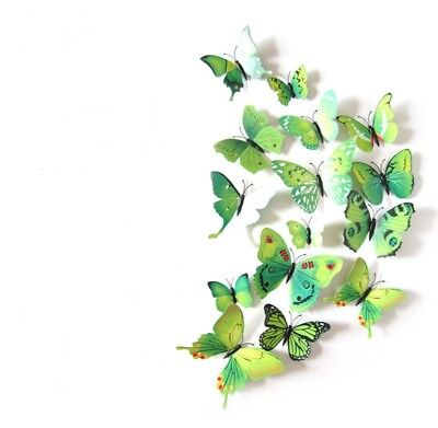 - 12 Pieces 3D Butterfly Art Decal Home Decor PVC Butterflies Wall Mural Stickers