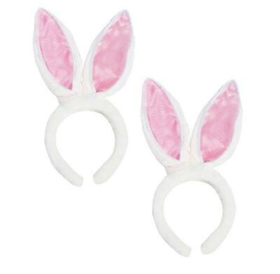 2 White Fluffy Bunny Rabbit Ears - Halloween Costume Easter Egg Basket Treat Toy (Fluffy Bunny Halloween Costume)