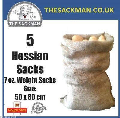 5 Hessian Jute Sacks 7oz Sacks, Storage, Crop, Strong, Burlap Sacks size 60x80cm