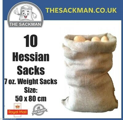 10 Jute Hessian Sacks 7oz Sack, 60x80cm Storage Crop, Strong Sandbags Sacks