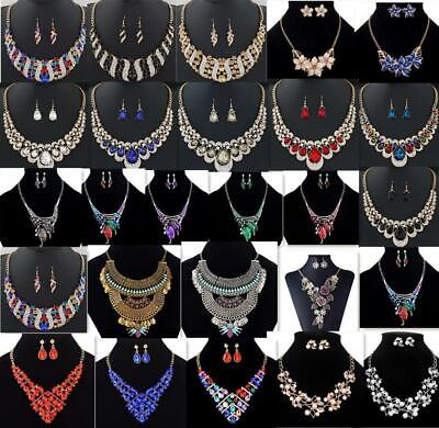 Women Fashion Jewelry Pendant Crystal Choker Chunky Statement Chain Bib Necklace Crystal Bib Statement Necklace