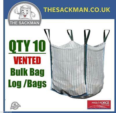 QTY 10 FIREWOOD LOG BULK BAGS 80x80x80cm VENTILATED LOG SACK 1000KGS