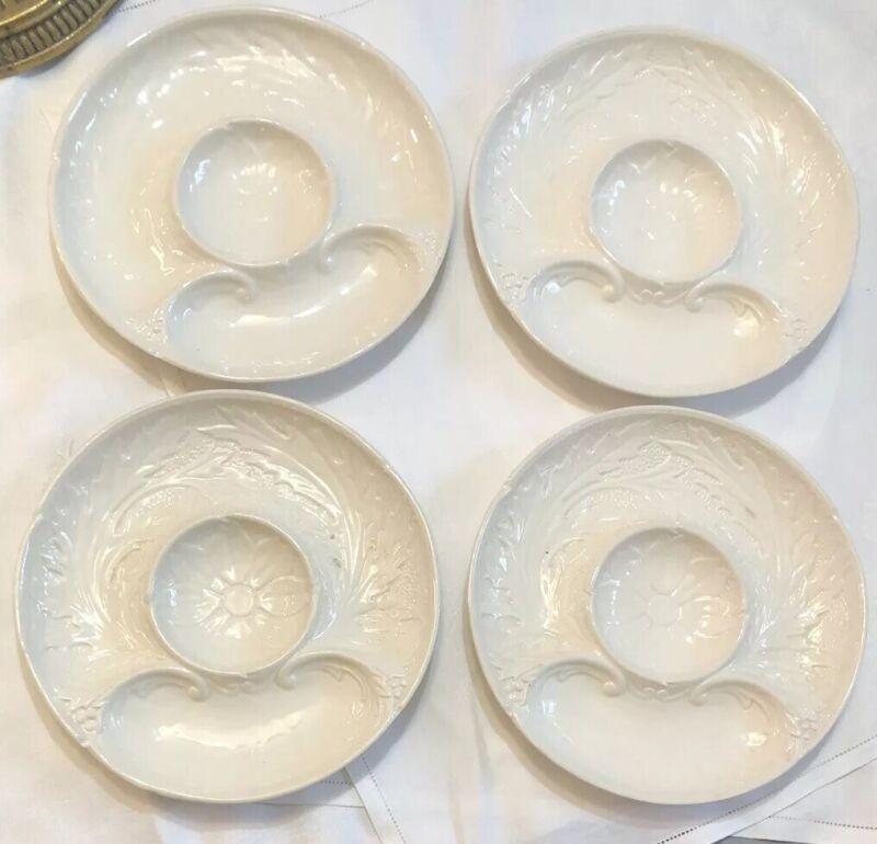 ERPHILA CZECHOSLOVAKIA Set 4 Porcelain Divided Artichoke Platter Plate