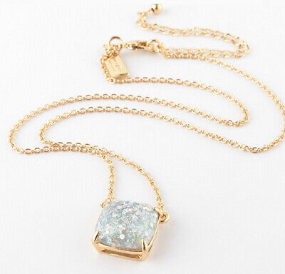 AUTHENTIC KATE SPADE Square Opal Glitter Gold Tone Pendant Necklace-NEW W/CARD!