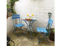 Outdoor Garden Furniture Set - Metal Folding Table and Two Chairs