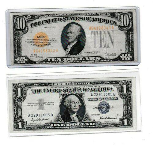 1928 $10 Gold Certificate &1957 $1 Silver Certificate lot of 1 each