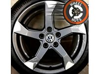 """17"""" Genuine alloys TTRS style VW Golf Caddy Leon perf cond Continental tyres."""