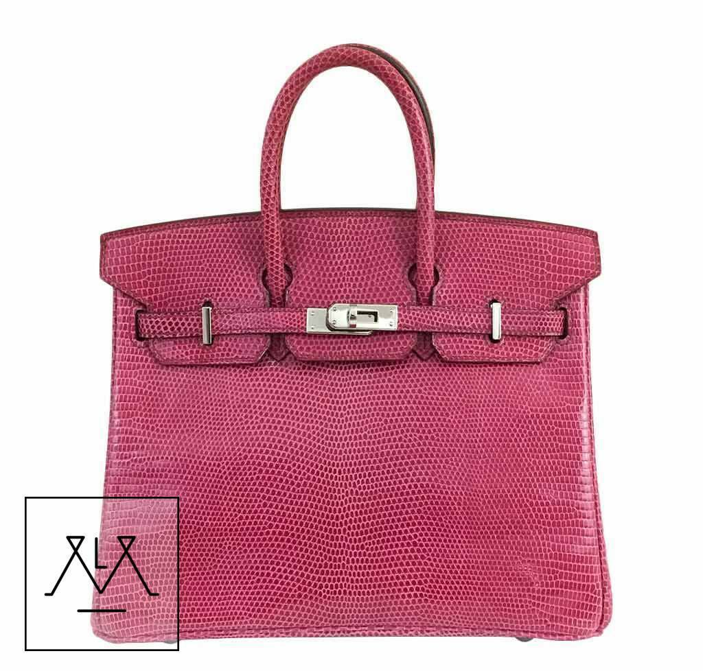 2b3958266d7 Hermes Birkin 25cm Bag Exotic Lizard Skin Fuchsia Pink Color PHW - 100%  Authentic