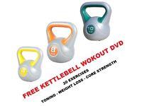 Kettlebell Set 4-8-12kg Fitness Weights Vinyl Kettlebell Set: Free DVD
