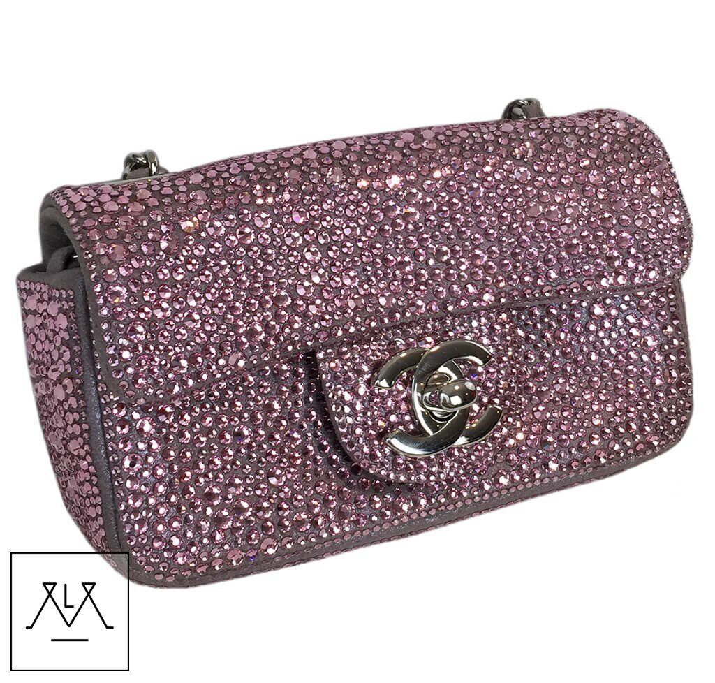 b16c06e85cf1 Chanel Mini Bag Pink Swarovski Crystals Limited Edition - 100% Authentic