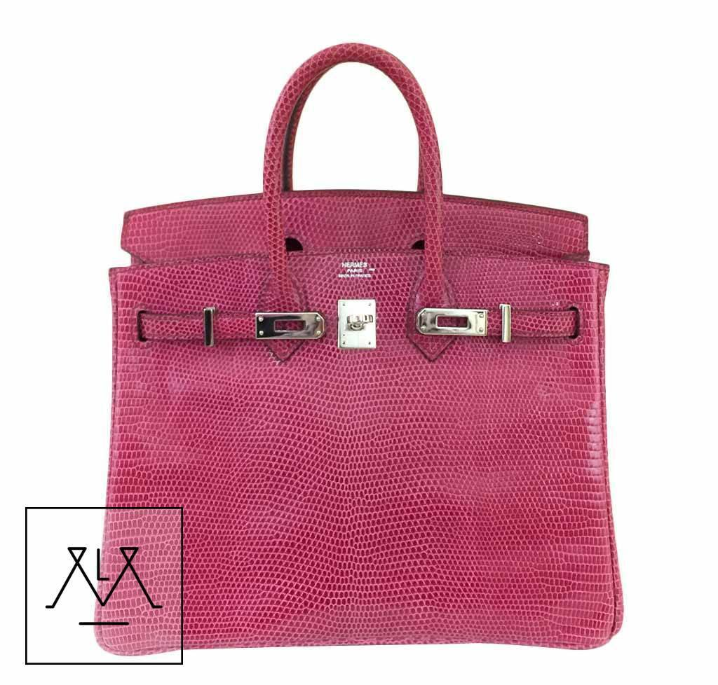 Details About Hermes Birkin Bag 25cm Lizard Exotic Skin Fuchsia Pink Phw 100 Authentic