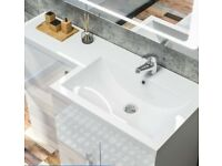 Off-white sink and worktop for right hand bathroom vanity unit