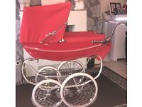 Dolls silver cross poppy red coach built pram
