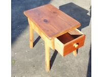 (#221) furniture unusual old pine wooden table stool with draws (Pick up only, Dy4 area)