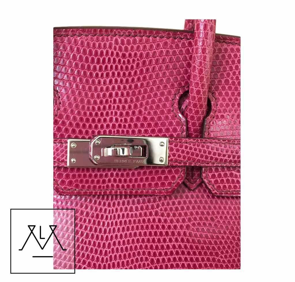 99f193835c Hermes Birkin 25cm Bag Exotic Lizard Skin Fuchsia Pink Color PHW - 100%  Authentic