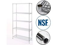 Chrome Wire Shelving Sets 4+ Tiers 6 Sizes Food Safe Certified SALE CLEARANCE