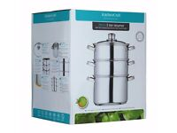 Kitchen Craft 20cm Clearview Stainless Steel 3-tier Steamer