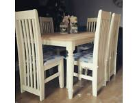 Stunning solid pine shabby chic nearly 7ft dining table and 6 chairs can deliver
