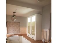 Display Unit/s for Kitchen Shaker style. Glass fronted with shelving and lights