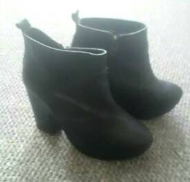 Topshop Black Leather Boots Size 4