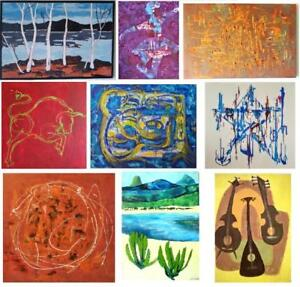 50 NEW ORIGINAL PAINTINGS Oakville SMALL to HUGE ART Abstract Impressionist Surrealist Colorful BW Sizes colors styles