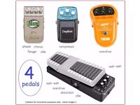 4 effect pedals - comprising wah, compressor, phaser, chorus, overdrive, distortion, Boss etc