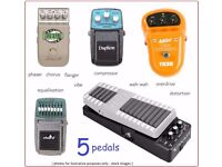 5 effect pedals - comprising wah, compressor, phaser, chorus, overdrive, distortion, EQ. Boss etc