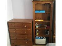 Bedroom furniture - Solid pine (Side table, dresser, wardrobe, bookshelf)