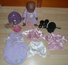 BABY BORN Black Doll with Accessories and instructions sheets.