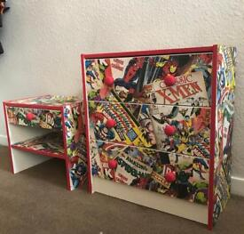 Marvel Chest of drawers and bedside table