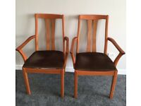 Pair of Sold Teak Carver Dining Chairs. Super Quality.