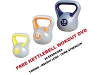Kettlebell Set 4-8-12kg Fitness Weights Vinyl Kettlebell Set Free DVD: NEW