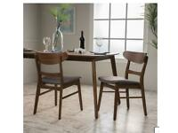 2xfabric and walnut wood brand new dining chairs