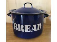 Vintage blue bread bin