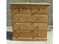 Refurbished Waxed Solid Pine 2 Over 3 Chest of Drawers Dovetail Joints