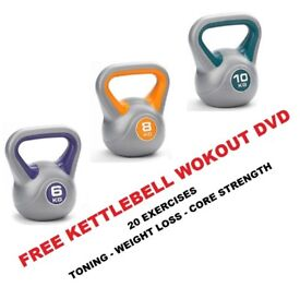 Kettlebell Set 6-8-10kg Fitness Weights Vinyl Kettlebells Free DVD: NEW